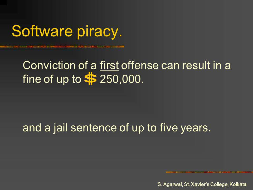 Software piracy. Conviction of a first offense can result in a fine of up to 250,000. and a jail sentence of up to five years.