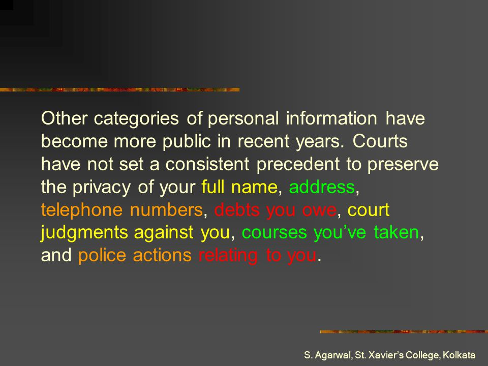 Other categories of personal information have become more public in recent years. Courts have not set a consistent precedent to preserve the privacy of your full name, address, telephone numbers, debts you owe, court judgments against you, courses you've taken, and police actions relating to you.