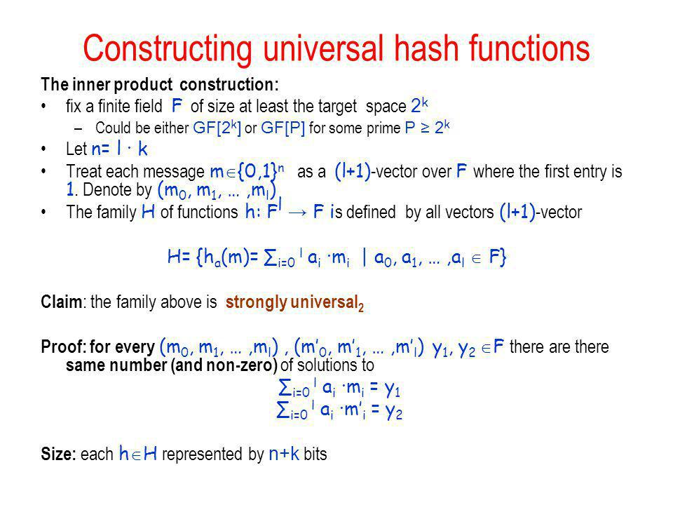 Constructing universal hash functions