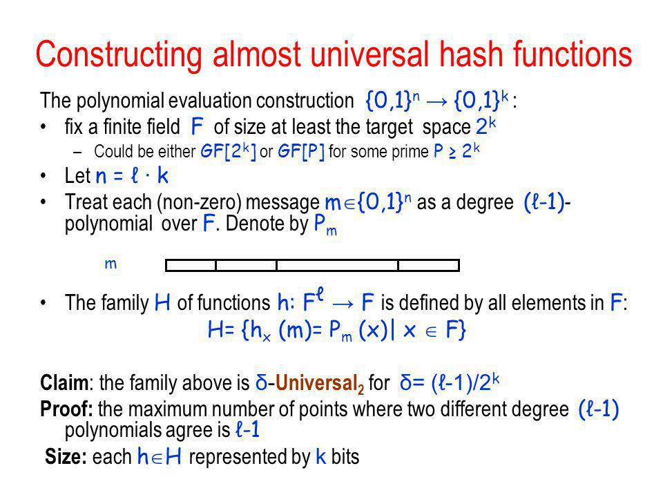 Constructing almost universal hash functions