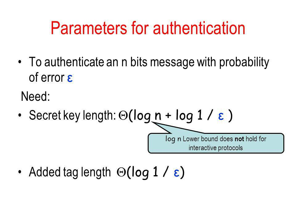 Parameters for authentication