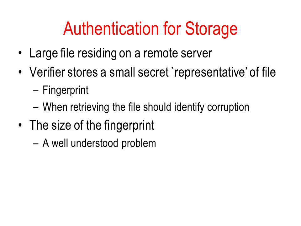 Authentication for Storage