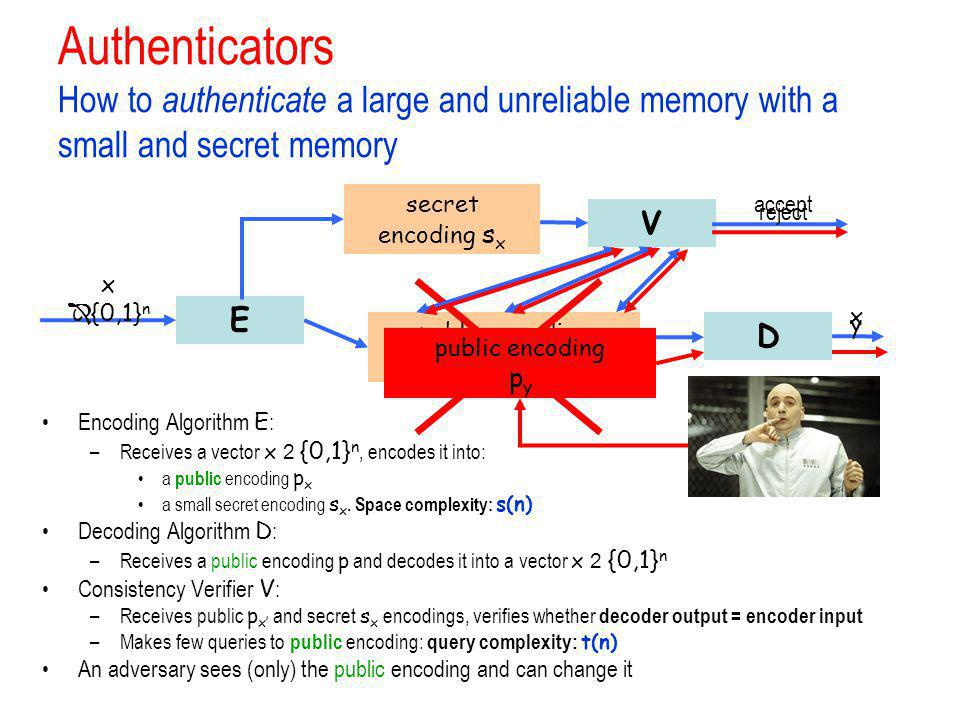 Authenticators How to authenticate a large and unreliable memory with a small and secret memory