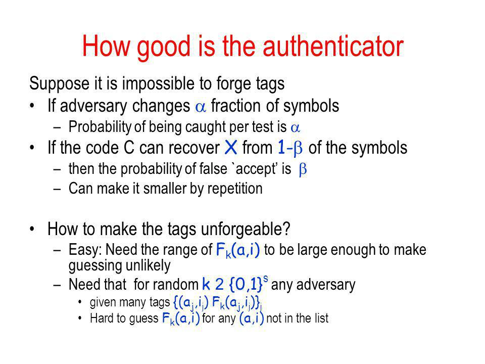How good is the authenticator
