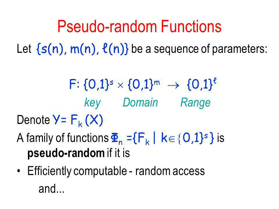 Pseudo-random Functions
