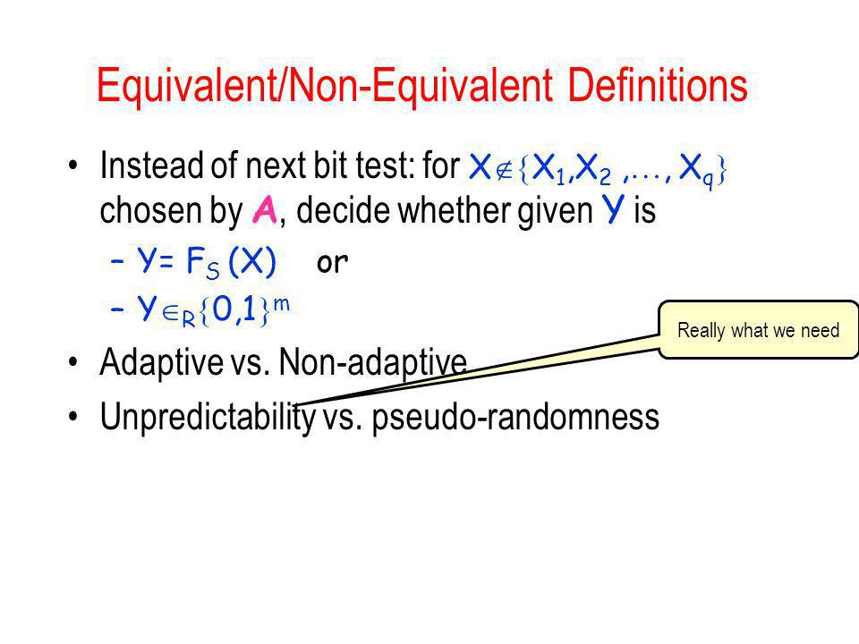Equivalent/Non-Equivalent Definitions