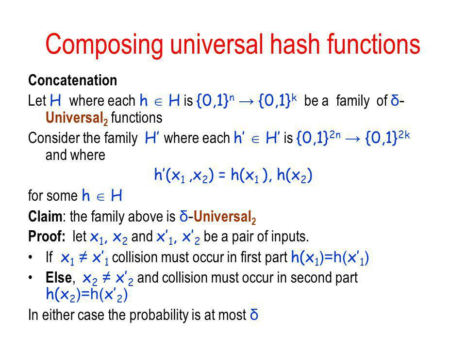 Composing universal hash functions