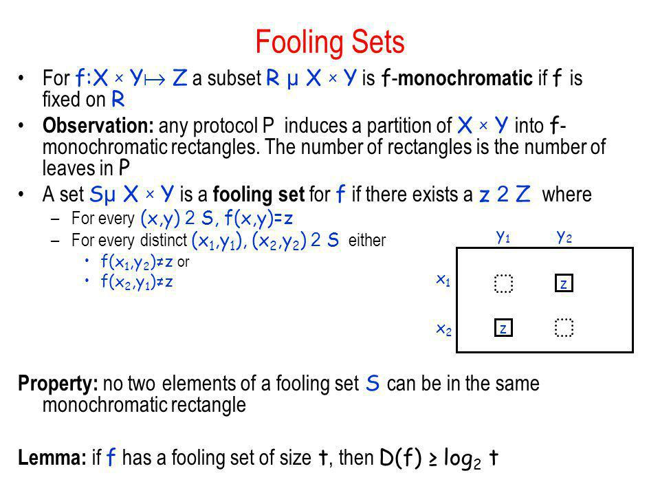 Fooling Sets For f:X x Y Z a subset R µ X x Y is f-monochromatic if f is fixed on R.
