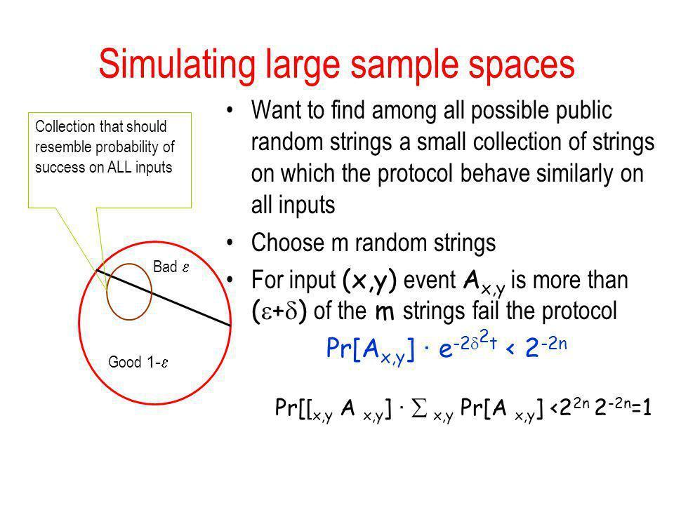 Simulating large sample spaces