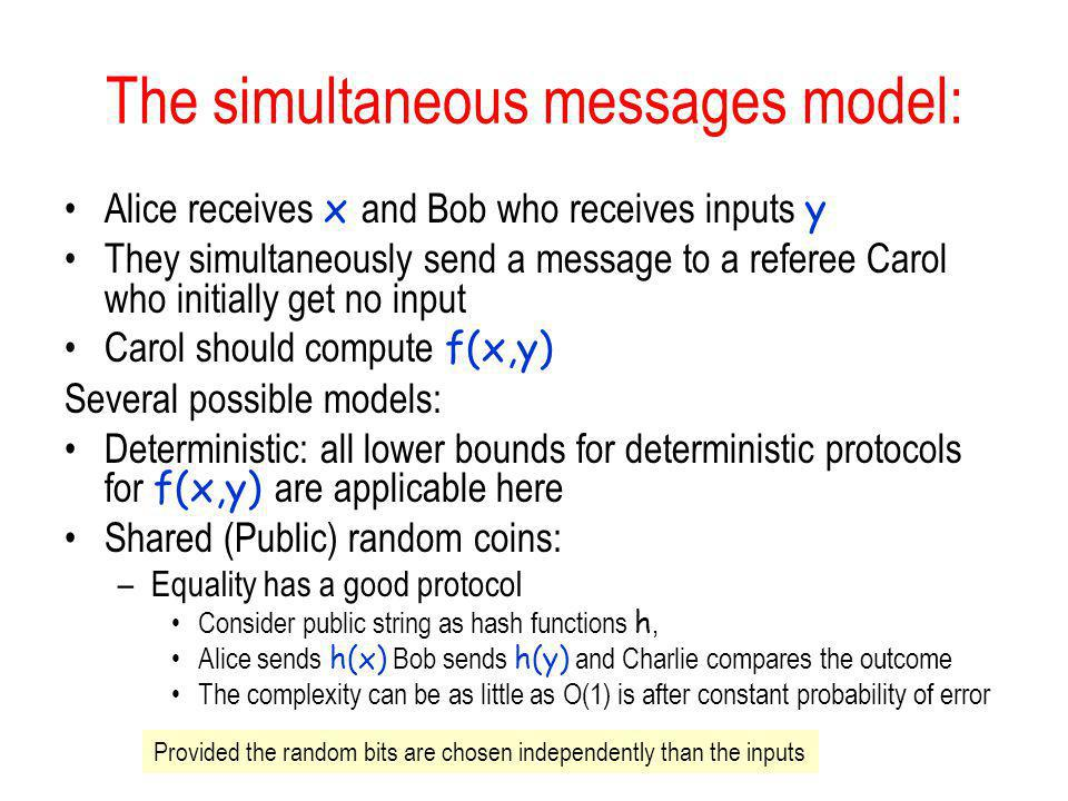 The simultaneous messages model: