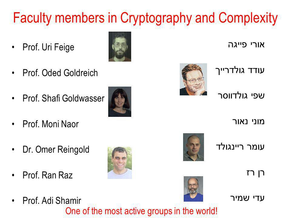 Faculty members in Cryptography and Complexity