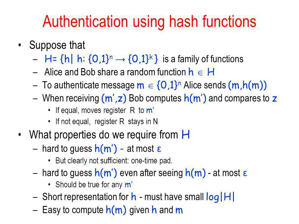 Authentication using hash functions