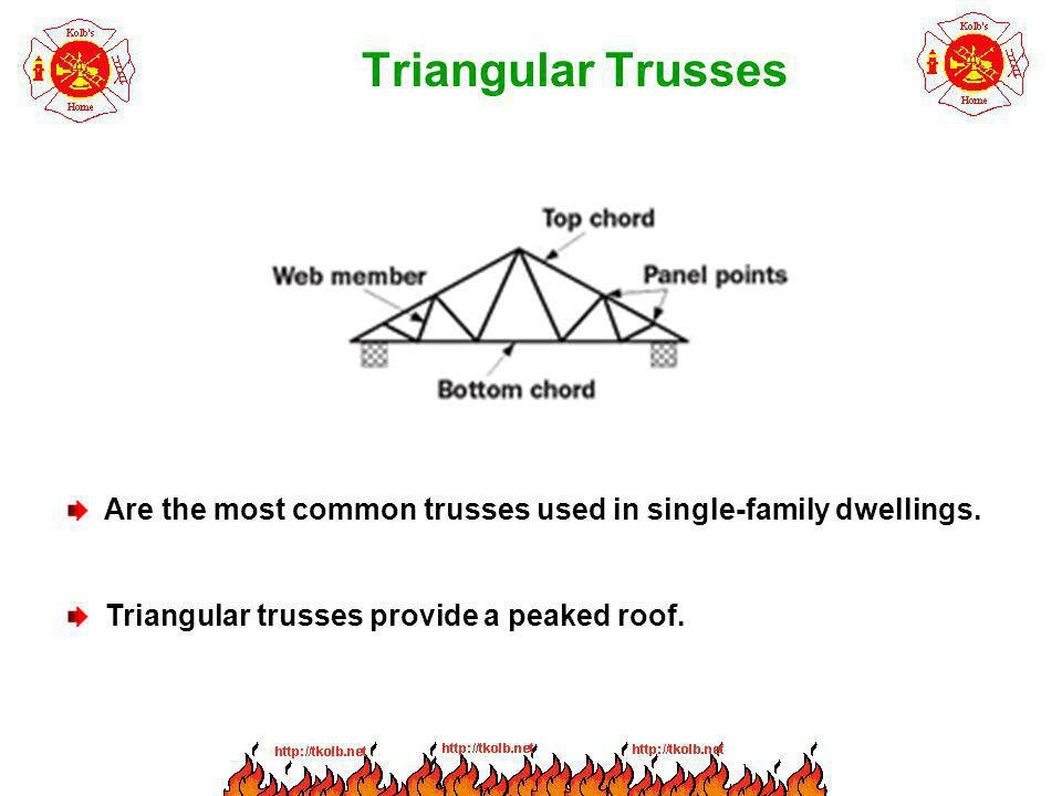 Triangular Trusses Are the most common trusses used in single-family dwellings.
