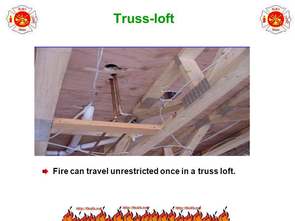 Truss-loft Fire can travel unrestricted once in a truss loft.