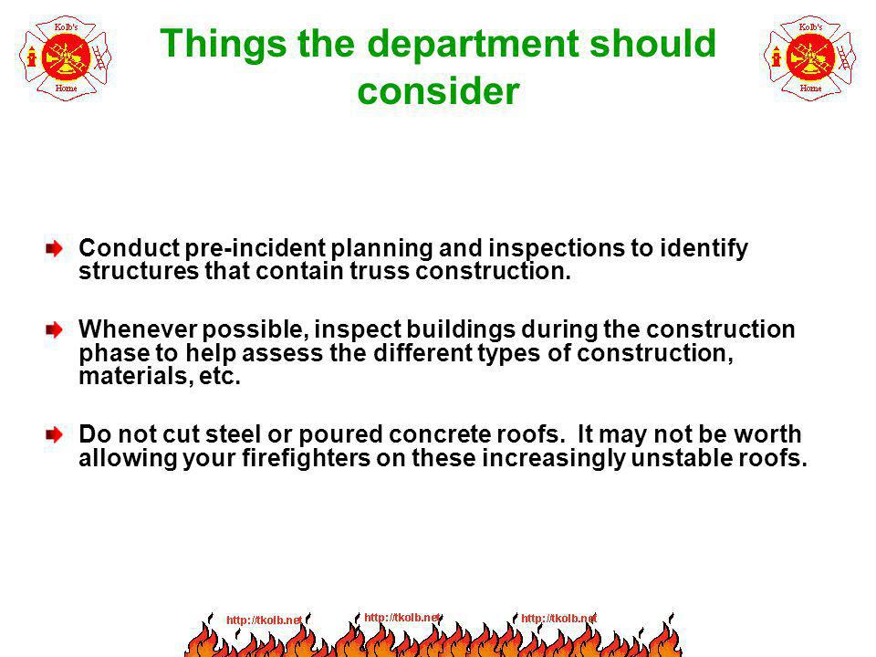 Things the department should consider