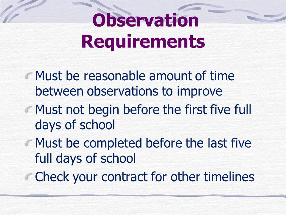 Observation Requirements