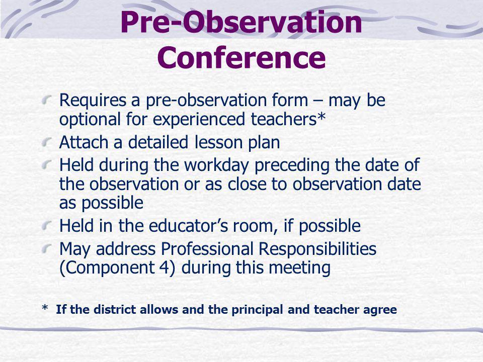 Pre-Observation Conference