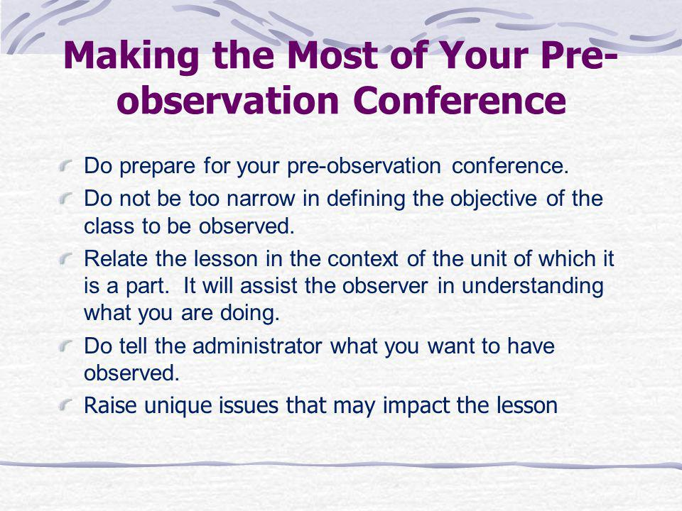 Making the Most of Your Pre-observation Conference