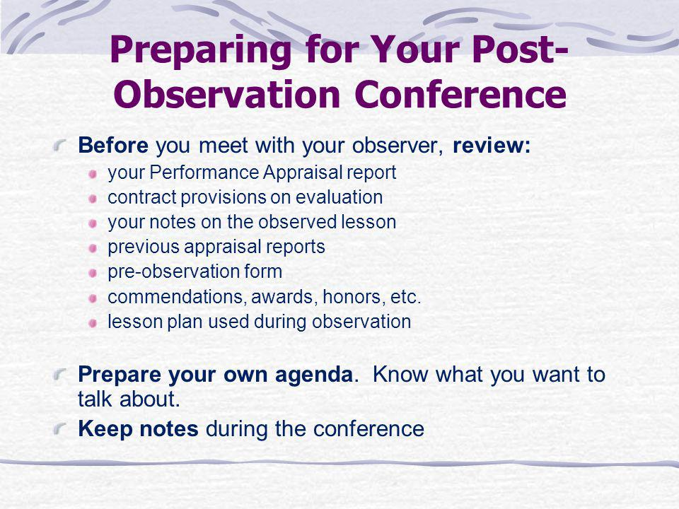 Preparing for Your Post-Observation Conference