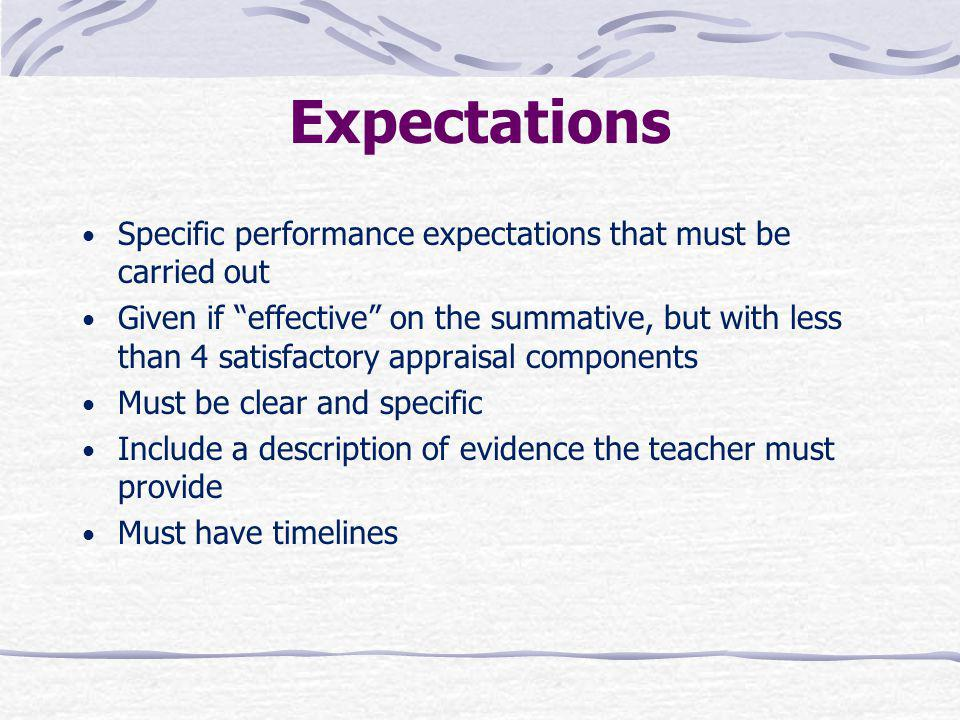 Expectations Specific performance expectations that must be carried out.