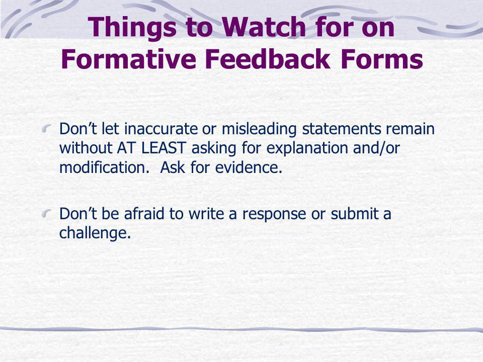 Things to Watch for on Formative Feedback Forms