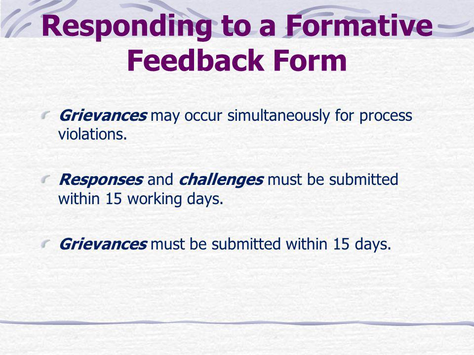 Responding to a Formative Feedback Form