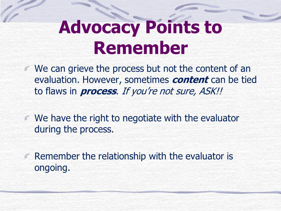 Advocacy Points to Remember