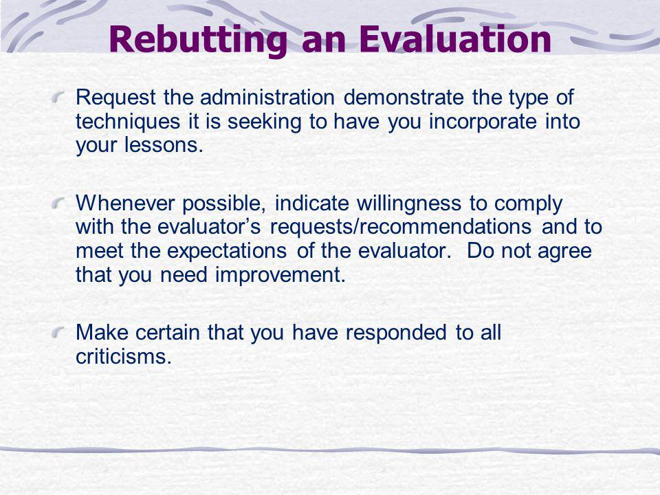 Rebutting an Evaluation