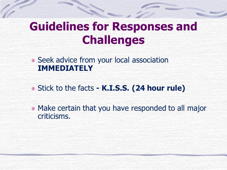 Guidelines for Responses and Challenges
