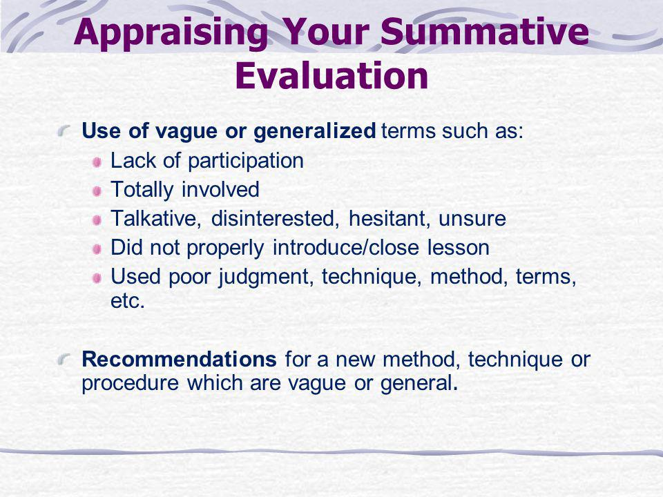 Appraising Your Summative Evaluation