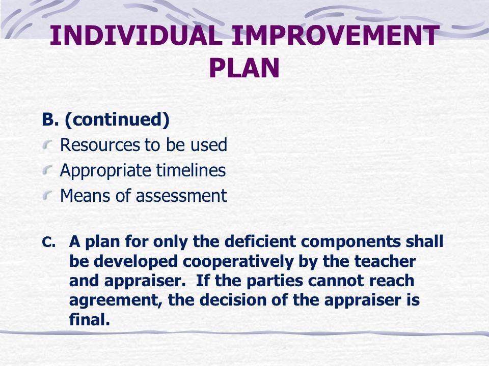 INDIVIDUAL IMPROVEMENT PLAN