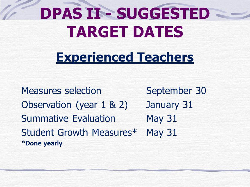 DPAS II - SUGGESTED TARGET DATES