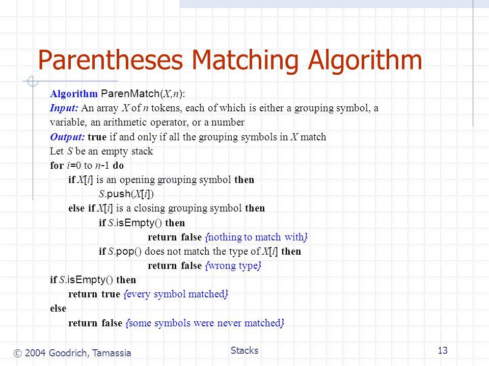 Parentheses Matching Algorithm