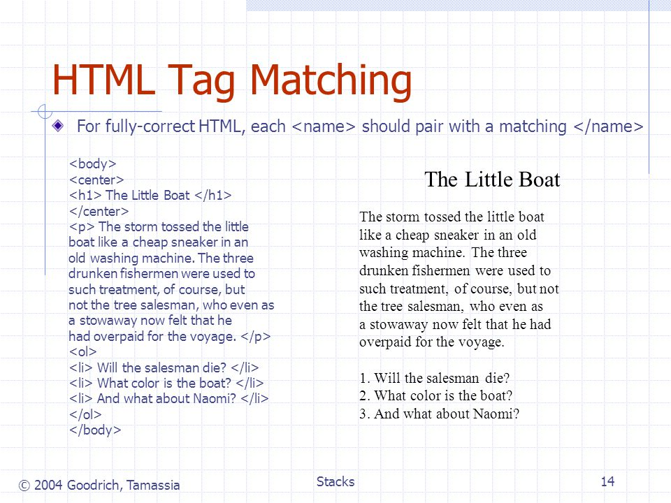 HTML Tag Matching The Little Boat