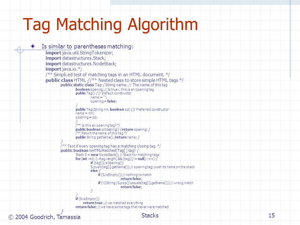 Tag Matching Algorithm