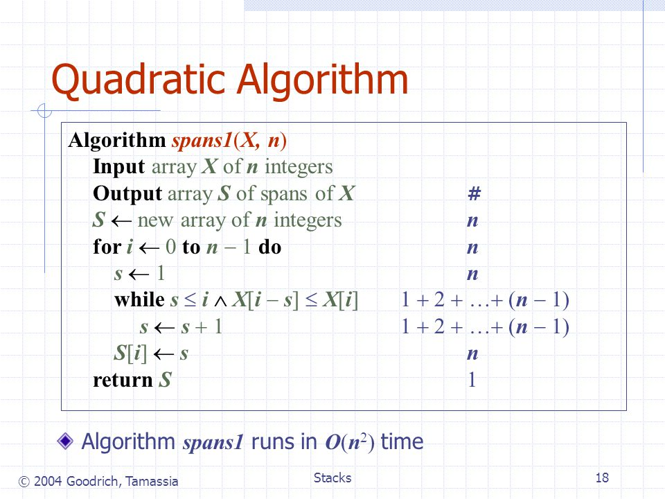Quadratic Algorithm Algorithm spans1(X, n) Input array X of n integers