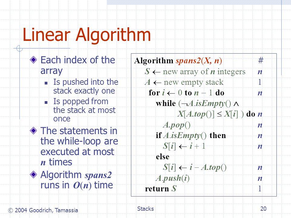 Linear Algorithm Each index of the array