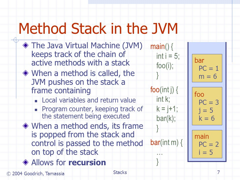 Method Stack in the JVM The Java Virtual Machine (JVM) keeps track of the chain of active methods with a stack.