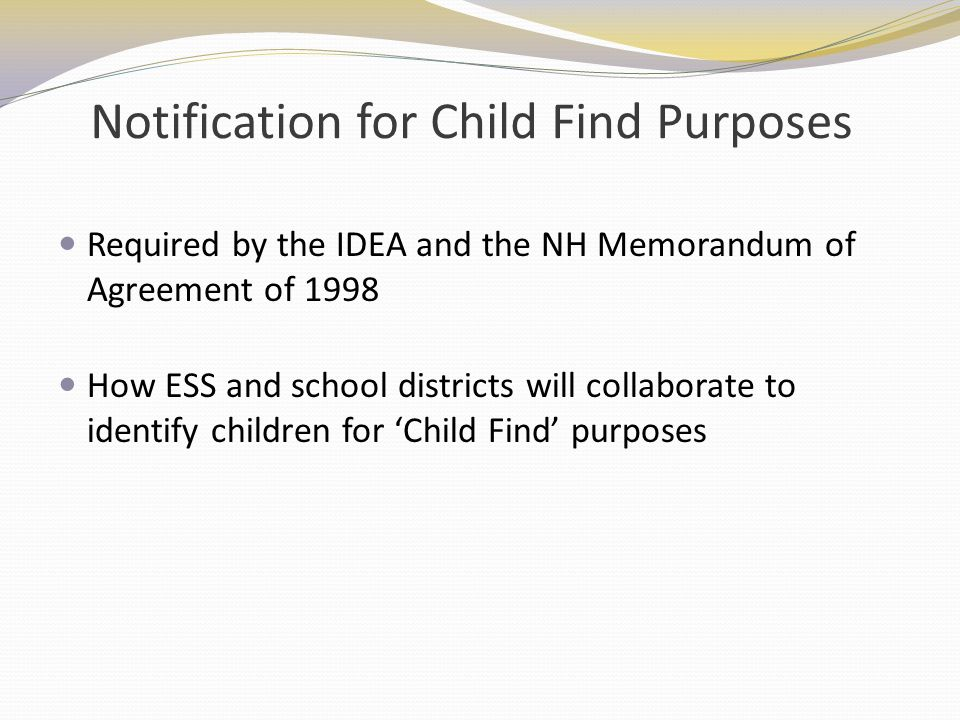 Notification for Child Find Purposes
