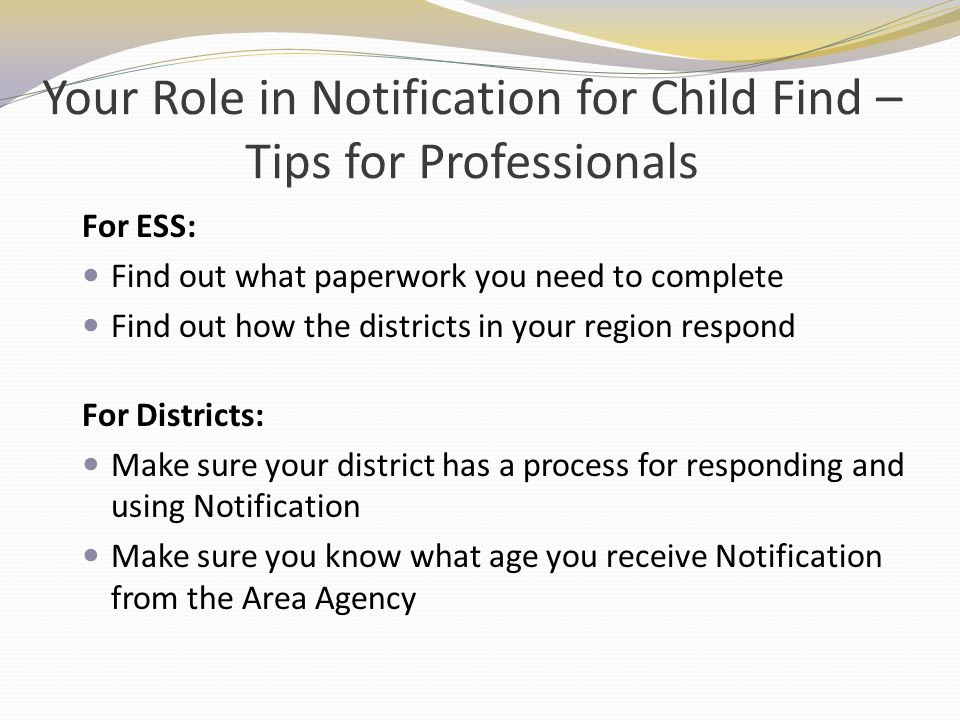 Your Role in Notification for Child Find – Tips for Professionals