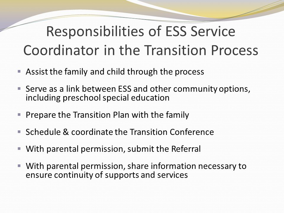 Responsibilities of ESS Service Coordinator in the Transition Process