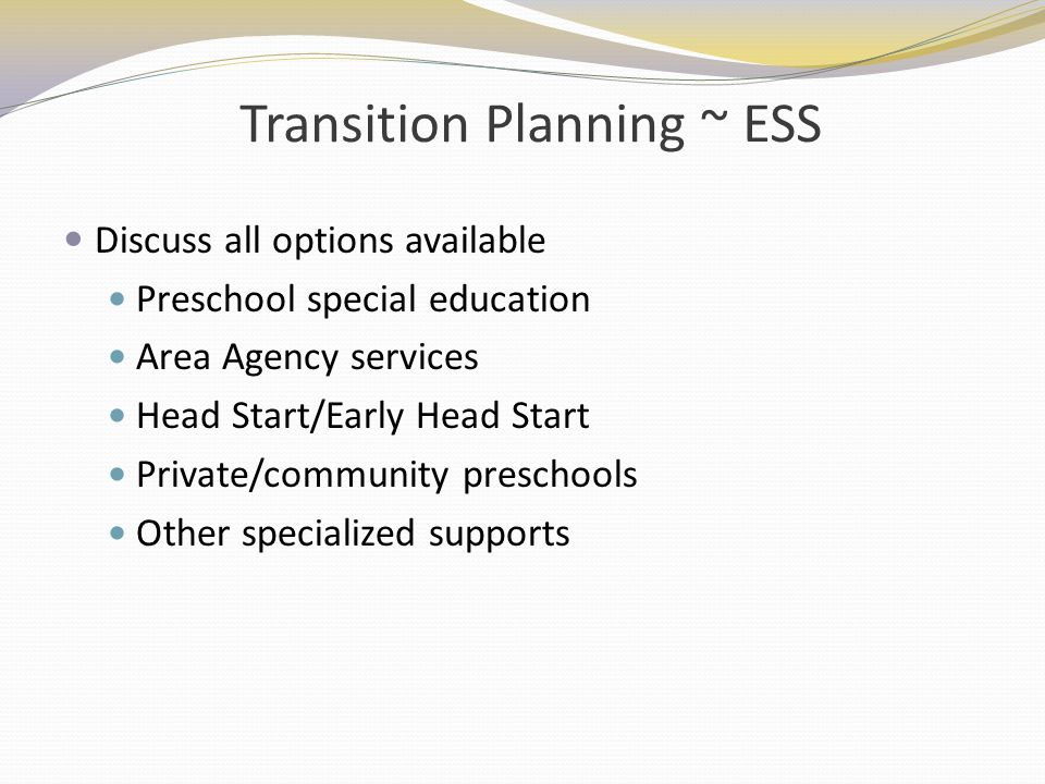 Transition Planning ~ ESS