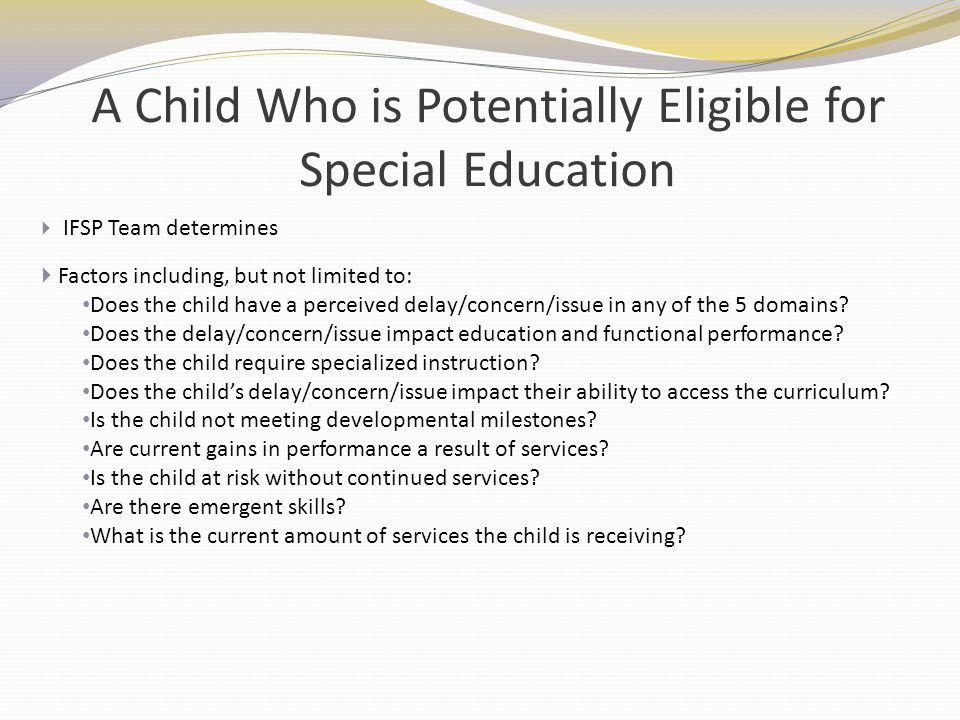 A Child Who is Potentially Eligible for Special Education