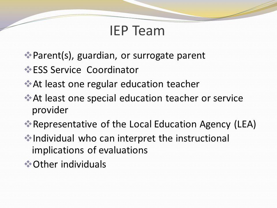 IEP Team Parent(s), guardian, or surrogate parent