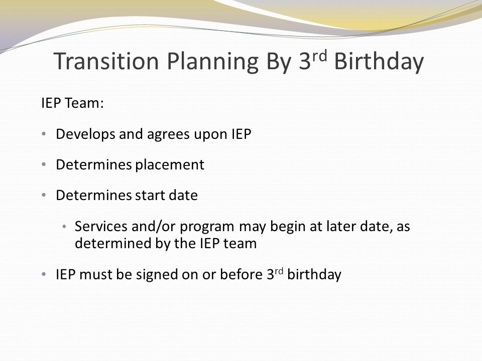 Transition Planning By 3rd Birthday