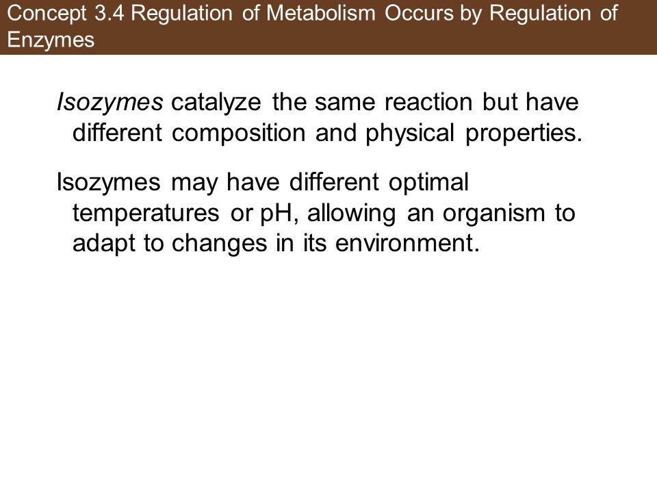Concept 3.4 Regulation of Metabolism Occurs by Regulation of Enzymes