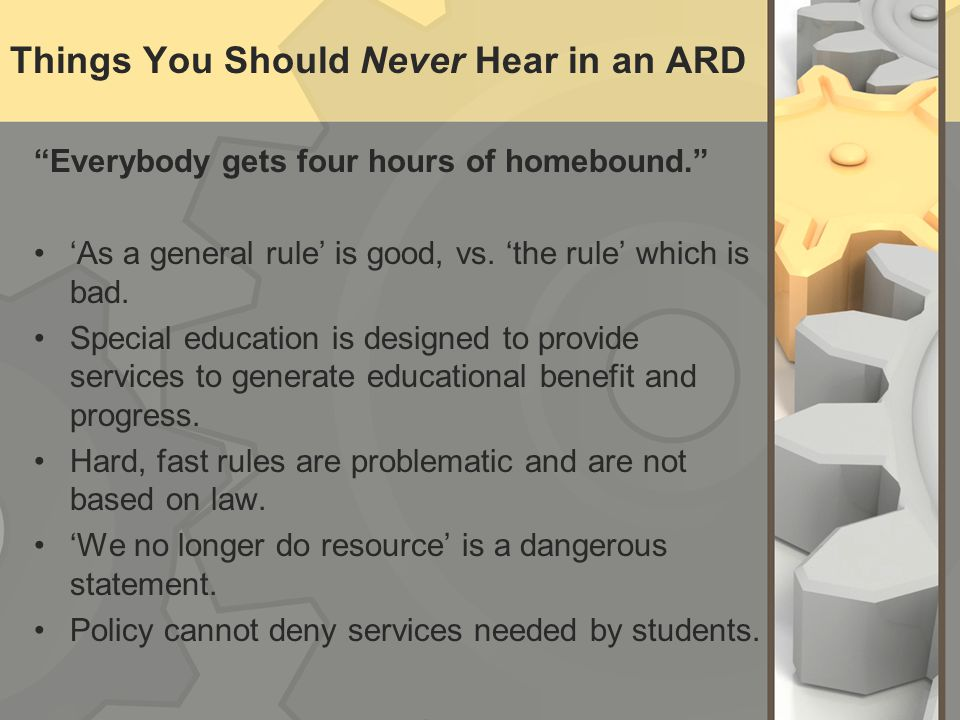 Things You Should Never Hear in an ARD