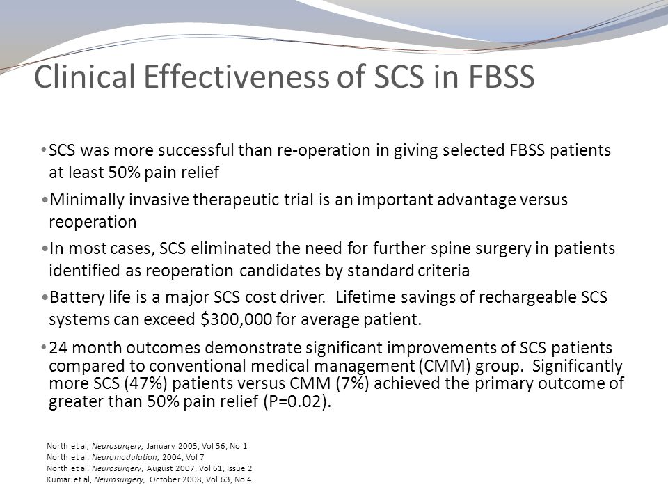 Clinical Effectiveness of SCS in FBSS