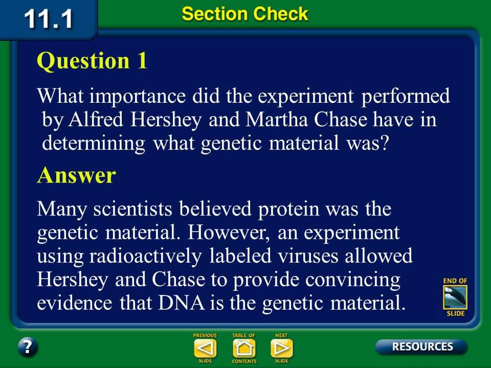 Question 1 What importance did the experiment performed by Alfred Hershey and Martha Chase have in determining what genetic material was