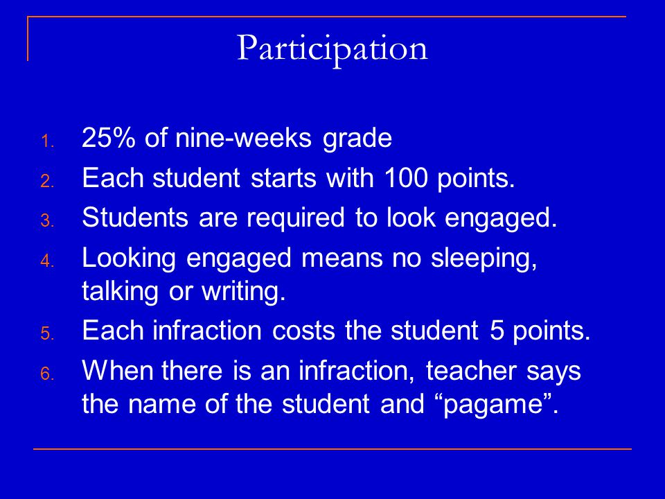 Participation 25% of nine-weeks grade